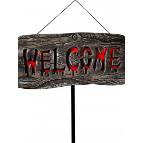 Light Up Welcome Outdoor Sign Fancy Dress Accessory