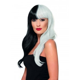 Deluxe Wig, Half & Half With Fringe Fancy Dress Accessory