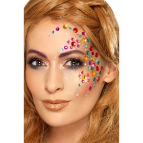 Rainbow Jewel Face Gems Fancy Dress Accessory