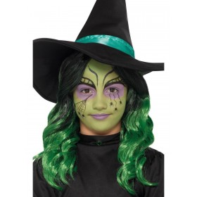 Kids Witch Halloween Make Up Kit, Aqua, 3 Colours Fancy Dress Accessory