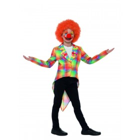 Neon Tartan Clown Tailcoat Fancy Dress Costume
