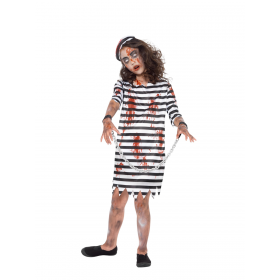 Zombie Convict Girl Fancy Dress Costume