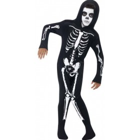 Boys Black Skeleton  (Fancy Dress Costume)