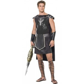 Men'S Dark Gladiator/Warrior Fancy Dress Costume