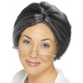 Granny Bun Wig - Fancy Dress - Grey