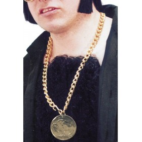 Gold Metal Medallion On Chain - Fancy Dress Mens (1960S)