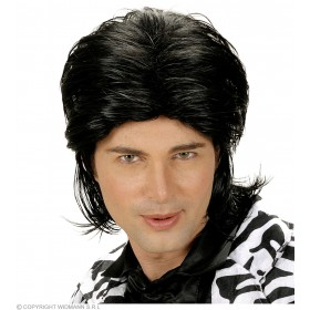 Wet Look Hair Man Wig - Black - Fancy Dress