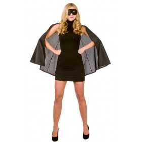 Black Adult Super Hero Cape With Mask Fancy Dress Accessory