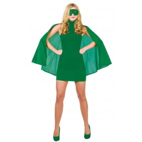 Green Adult Super Hero Cape With Mask Fancy Dress Accessory