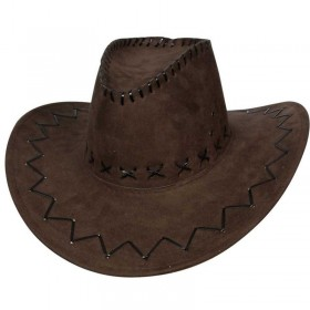 Brown Suede Cowboy Hat Fancy Dress (Cowboys/Native Americans)