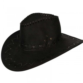 Black Suede Cowboy Hat Fancy Dress (Cowboys/Native Americans)