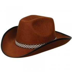Brown Cowboy Hat W/Decorative Band Fancy Dress (Cowboys/Native Americans)