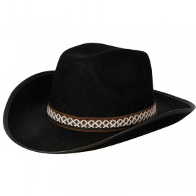 Black Cowboy Hat W/Decorative Band Fancy Dress (Cowboys/Native Americans)
