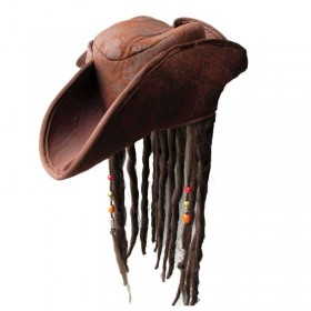 Caribbean Pirate Hat - With Braided Hair & Beads (Pirates)