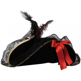Pirate Hat - Female Deluxe With Feather Fancy Dress (Pirates)