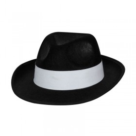 Felt Gangster Hat - Black W/ White Band Fancy Dress