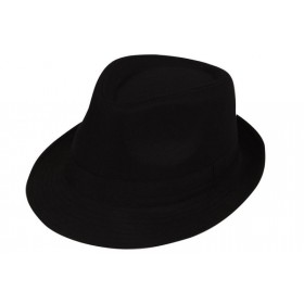 Mens Black Fedora (Plain) Hats - (Black)