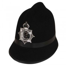 Mens Traditional Police Helmet Hats - (Black)