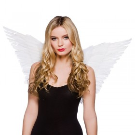 Ladies Large Feather Wings White Accessories - (White)