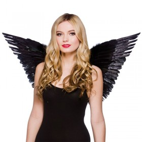 Ladies Large Feather Wings Black Accessories - (Black)