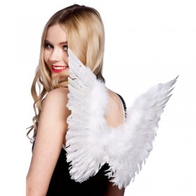 Ladies Small Feather Wings White Accessories - (White)