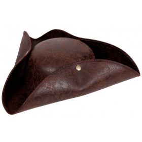 Deluxe Brown Adult Pirate Hat Fancy Dress Costume