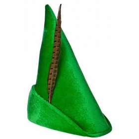 Deluxe Green Adult Peter Pan/Elf Hat Fancy Dress Accessory