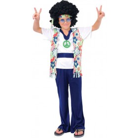 Boy'S 60'S Festival Hippie Dude Fancy Dress Costume