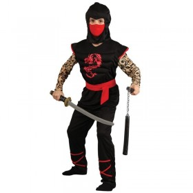 Boys Muscle Chest Ninja Warrior Ninja Outfit - (Black)
