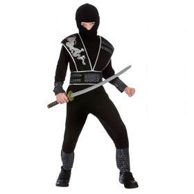 Boys Black Elite Shadow Ninja Assassin Fancy Dress Costume