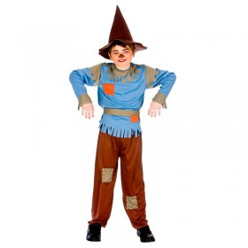 Boys Oz Yellow Brick Scarecrow Charater Fancy Dress Costume