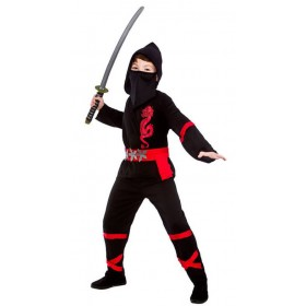 Boy'S Black/Red Power Ninja Fancy Dress Costume