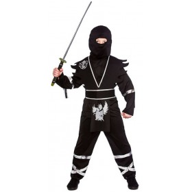 Boy'S Black/Silver Ninja Assassin Fancy Dress Costume