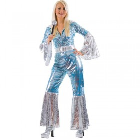 Ladies Blue/Silver Waterloo 70'S Disco Fancy Dress Costume