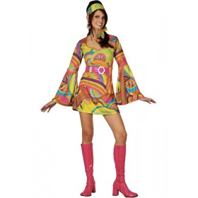 Retro Go Go Girl Fancy Dress Costume Ladies (1970S)