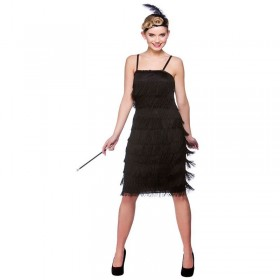 Ladies Jazzy Flapper - Black 1920'S Outfit - (Black)