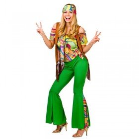 Ladies 60'S Flower Power Groovy Hippie Chic Fancy Dress Costume