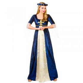 Ladies Blue & White Fair Medieval Marian Maiden Fancy Dress Costume