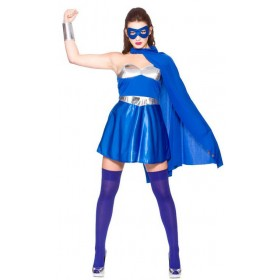 Ladies Blue/Silver Avenging Super Hero Fancy Dress Costume