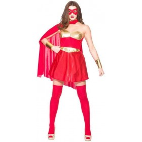 Ladies Hot Red/Gold Avenging Super Hero Fancy Dress Costume