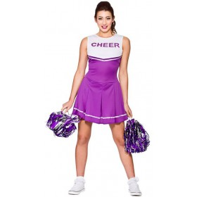 Ladies Purple High School Cheerleader Fancy Dress Costume