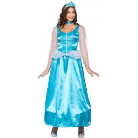 Ladies Ice Blue Frozen Princess Fancy Dress Costume