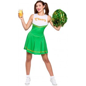 "Ladies Green Paddys ""Cheers"" Cheerleader Fancy Dress Costume"