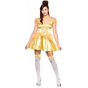 Ladies Beautiful Golden Princess (Short) Fancy Dress Costume