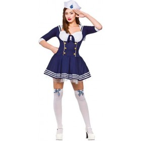 "Ladies Blue ""Hello"" Sailor Fancy Dress Costume"