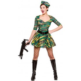 Ladies Camo Comabt Corporal Cutie Fancy Dress Costume