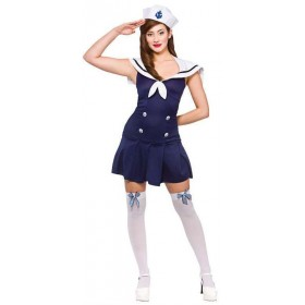 Ladies Blue/White Ahoy Sailor Fancy Dress Costume