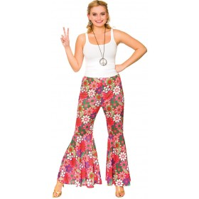Ladies Pink Flower Power Hippie Pants Fancy Dress Item