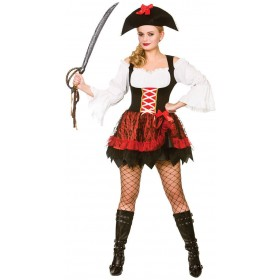 Ladies Charming Pirate Fancy Dress Costume