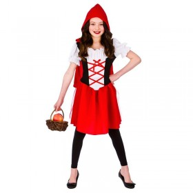 Girls Red Classic Little Red Riding Hood Fancy Dress Costume